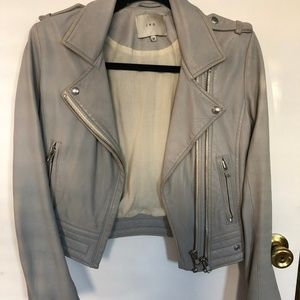 IRO DYLAN LUIGA LEATHER JACKET GREY GRAY GRIS 38